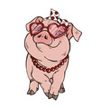 piggy girl fashionista vector image