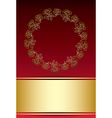 red and gold background with frame from roses vector image vector image