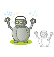 Robot with Headphones vector image vector image