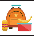 school lunchtime poster schoolbag lunchbox banana vector image