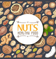 seamless background with colored nuts and seeds vector image vector image