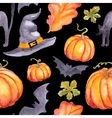 seamless pattern wirh watercolor pumpkins hat abd vector image