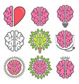 set flat design colored brain symbols vector image