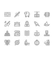 set georgian culture line icons people in vector image vector image