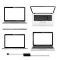 set of laptops with blank screen in vector image vector image