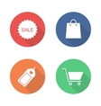 Shopping flat design icons set vector image