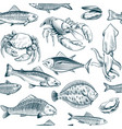 sketch seafood seamless pattern oyster salmon vector image vector image