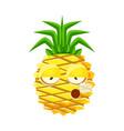 smoking pineapple emoticon cute cartoon emoji vector image vector image
