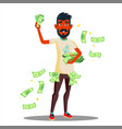 student with a lot of money in hands vector image vector image