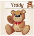 Teddy bear with red bow waves the paw vector image vector image