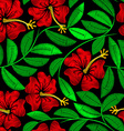 Tropical embroidery hibiscus plant in a seamless vector image