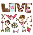 valentine day doodle set with cupid angel and vector image