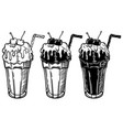 with a glass of ice cream and vector image vector image