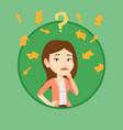 young business woman thinking vector image