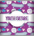youth culture pattern background vector image vector image