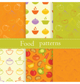 Set of food seamless patterns vector image