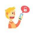 stressed cartoon man holding unlocked smartphone