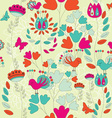 A Seamless Retro Style Pattern with Birds and vector image