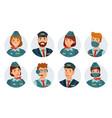 air crew avatars airline pilot ship captain vector image vector image