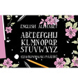 alphabet is a top view of the brush flowers vector image vector image