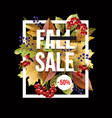 banner sale with autumn yellow leaves and berries vector image vector image
