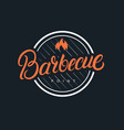 barbecue hand written lettering logo vector image vector image