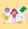 beautiful young girl tanning cartoon vector image