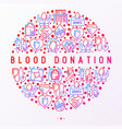 blood donation mutual aid concept in circle vector image vector image