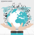 Business hand showing modern globe with vector image vector image