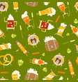 cartoon funny beer characters seamless pattern vector image