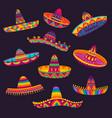 cartoon mexican sombrero hats mariachi musician vector image vector image