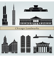 chicago landmarks and monuments vector image vector image