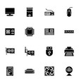 computer hardware icons set glyph or solid style vector image vector image