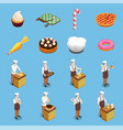 confectionery chef isometric icons set vector image vector image