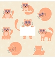 Cute red kitten set funny cat with sign vector image