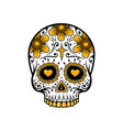 day dead skull sugar flower tattoo vector image vector image