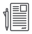 document and pen line icon office and paper sign vector image vector image