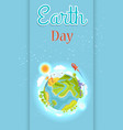 earth day template colorful poster with planet vector image vector image