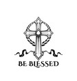 easter cross be blessed religion quote icon vector image vector image