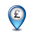 english pound symbol on mapping marker icon vector image vector image
