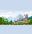 family outdoor adventure activity cartoon active vector image vector image
