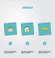 flat icons depot wooden barrier choice and other vector image