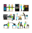 flat icons set of factory production vector image