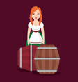 german woman with beer barrels vector image