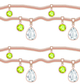 golden chain with precious stones pendant vector image