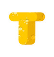 letter t cheese font symbol of cheesy alphabet vector image
