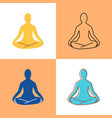lotus yoga pose icon set in flat and line style vector image