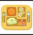 lunch tray colorful poster salver with school vector image vector image
