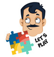 man is holding puzzle on white background vector image