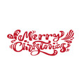 merry christmas red vintage calligraphy lettering vector image vector image